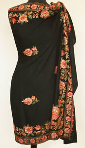 Large Embroidered Black, Wool Shawl Kashmiri Crewel Embroidery Indian Pashmina