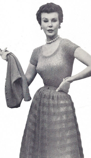 Vintage Knitting Pattern Knitted Dress Jacket Cocktail Evening Party