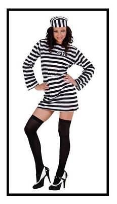 Sträfling Damen Kleid Kostüm Häftling Sexy Gefangene Verbrecher Karneval, (Häftling Kleid Kostüm)