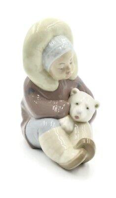 LLADRO Figurine Retired ESKIMO Boy & Polar Bear #1195 Perfect Condition Glaze