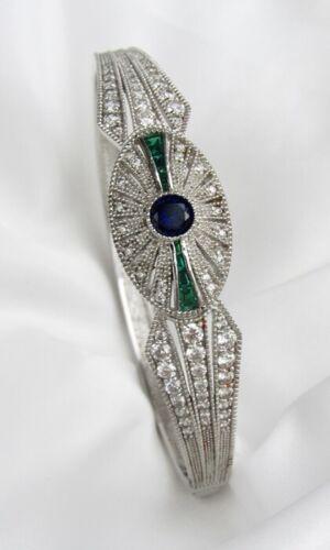 Silver 925 NVDR Emerald Sapphire Crystal Rhinestone Art Deco Bangle Bracelet