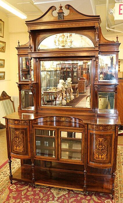 Beautifully Inlaid 19th Century English Rosewood Edwardian Etagere Cabinet