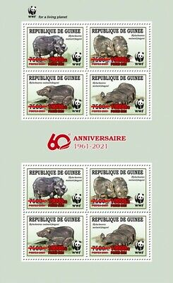 Guinea 2021 MNH WWF Stamps Giant Forest Hog Red OVPT Wild Animals 8v M/S