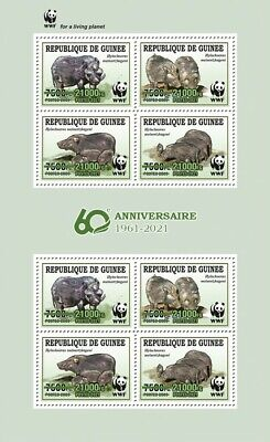 Guinea 2021 MNH WWF Stamps Giant Forest Hog Green OVPT Wild Animals 8v M/S