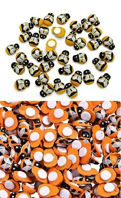 Bee Craft - Small ORANGE, YELLOW or MIXED BEE Stick-on Wood Pieces 1/2