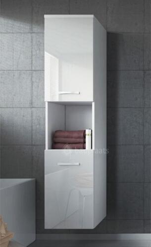 Hoge badkamerkast montreal hoogglans wit 131cm kolomkast for Hoge badkamerkast