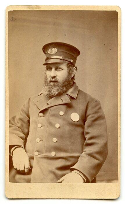 Rare 1870s Boston, Massachusetts Police Officer CDV Photo Showing Hat Badge #237
