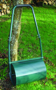 Green Steel Garden Lawn Grass Roller Hand Tool - Water / Sand Filled