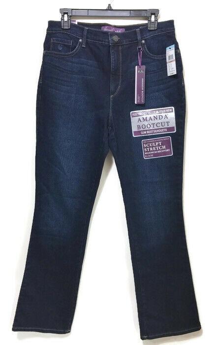 348e6f3320d Gloria Vanderbilt Womens Amanda Bootcut Sculpt Stretch Blue Jeans Size 12  Short