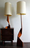 SET OF DANISH MODERNIST TEAK SCULPTURAL ABSTRACT ZIG ZAG LAMPS