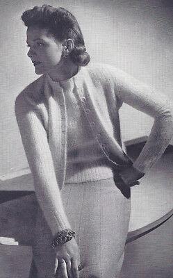 Vintage Knitting PATTERN to make Twin Set Angora Knit Sweater-NOT finished item.