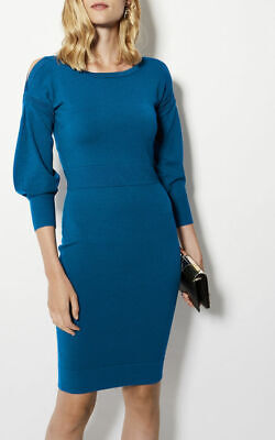 Karen Millen  Blue  Knitted Bodycon  dress size 14 / 16