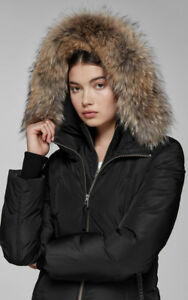 Mackage - ROMANE bomber cut down jacket with natural fur trim, S