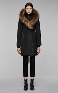 Womens Mackage Kay Parka with Fur Collar - Black Size XS