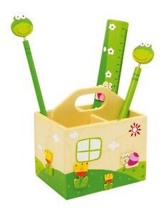 Portapenne-Box-in-Legno-con-Righello-Penna-e-Matita-per-Bambini