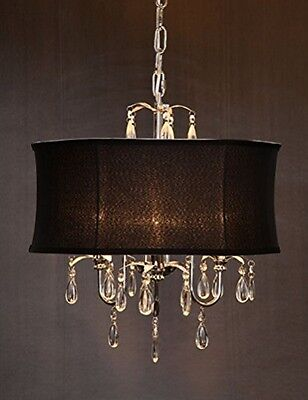 Hollywood Regency Chrome & Crystal Chandelier with Black Shade