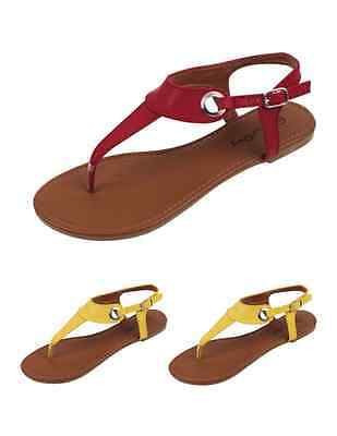 Womens Ladies Gladiator Flat Thong Sandal Buckle Shoes - SB 2207