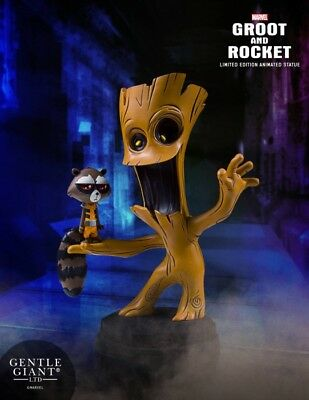 Gentle Giant Marvel Groot and Rocket Animated Style Statue - Skottie Young