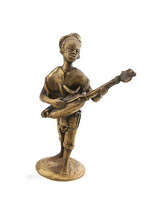 Statue Musician in Brass Player of Ngoni Art Bronze & African AA792