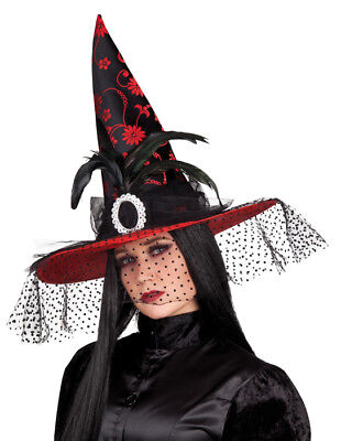 Hexenhut Red Belle mit Schleier - Rot - Hut zum Hexenkostüm Halloween Karneval