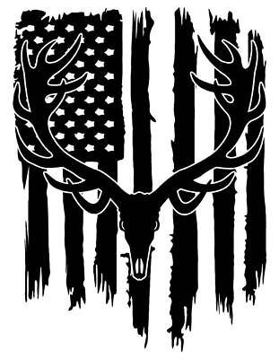 Distressed American Flag Bull Elk Skull Hunter Antler Decal Sticker #2