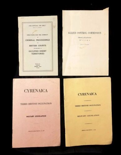 Vtg WW2 British Allied Occupation Courts Booklets M East Cairo Enemy Legislation