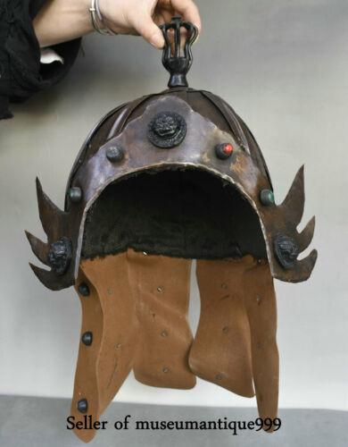 "12.4"" Old China Bronze leather Dynasty Warrior soldier casque helmet Hat Cap"