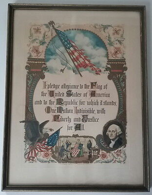 Pledge Allegiance Flag Framed Print J R  Rosen   A E Hilton Brown Bigelow 1948