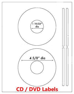 200 Laser and Ink Jet Labels CD/ DVD Laser 100 sheets Same Size template 5931