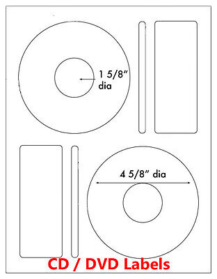 500 Memorex Compatible Large Core CD DVD Laser / Ink Jet Labels 250 sheet Label
