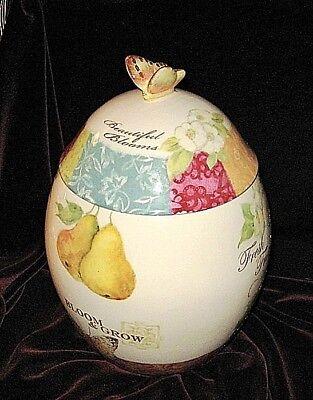 Botanical Jar (BOTANICAL FRUIT Cookie Jar SUSAN WINGET Pears Butterfly Grapes Ceramic Retired)