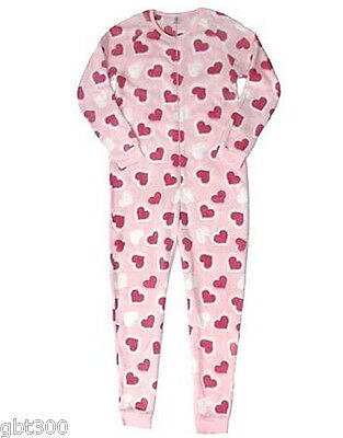 Adult Plush HEARTS Fleece Pajamas S-XL One Piece Union Suit Valentines Day Gift (Valentines Pjs)