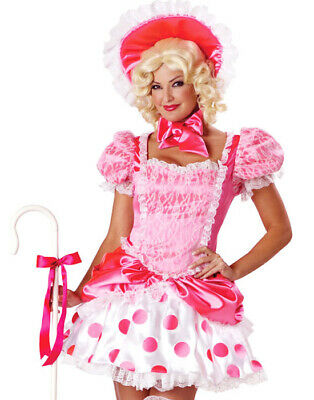 Sexy Pink Adult Womens Little Bo Peep Polka Dot Halloween Costume Dress S - Little Bo Peep Adult Costume