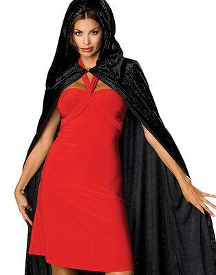 """63"""" Long Black Velvet Hooded Cape Cloak King Queen Vampire Renaissance Costume"""