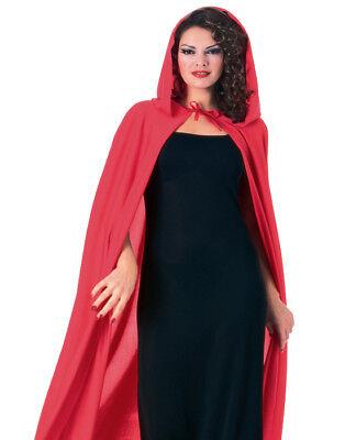 Erwachsene Rot Lang Kapuze Cape Mantel Vampir Hexe König Gothik Halloween Kostüm