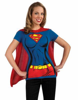 Supergirl Super Hero T-Shirt & Cape Adult Womens Halloween Costume Set ()