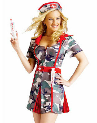 Sexy Camo Army Military Nurse Medic Shot Soldier Womens Holiday Costume - Army Nurse Costume