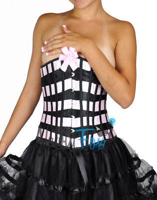 Sexy Pink Black Satin Bow Underbust Ribbon Corset Waist Cincher Costume S-2XL