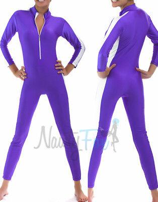 Sexy Purple White Stripe Jumpsuit Unitard Bodysuit Dance - Dance Jumpsuit Kostüme