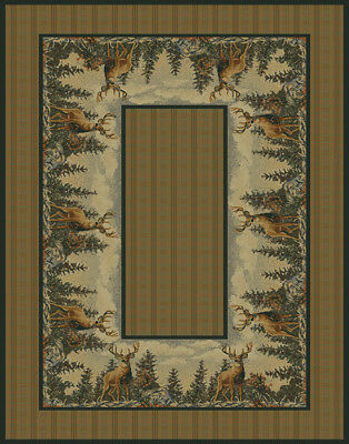 PLAID deer FOREST 8x11 area rug WILDLIFE lodge CARPET : Actual Size 7'10
