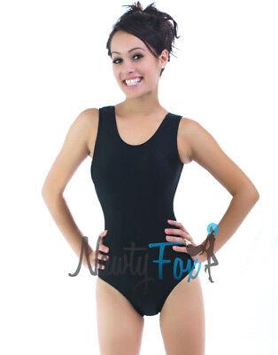 Retro Black Shiny Spandex Sleeveless Leotard Bodysuit Holiday Costume](Shiny Black Bodysuit)