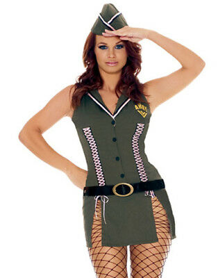 Army Brat Halloween Costume (Green Womens Army Brat Military Girl Mini Dress Halloween Costume Hat)