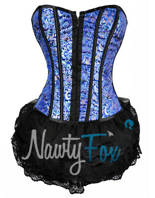 Sexy Victorian Blue Pink Brocade Corset Ruffle Mini Dress Top Mlxl