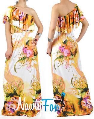 Orange Flower One Shoulder Ruffle Maxi Dress Casual Summer Vacation Dress (Frill Flower)