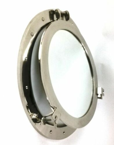 "24"" ROUND ALUMINUM CHROME FINISH PORTHOLE WITH MIRROR-NAUTICAL DECOR"