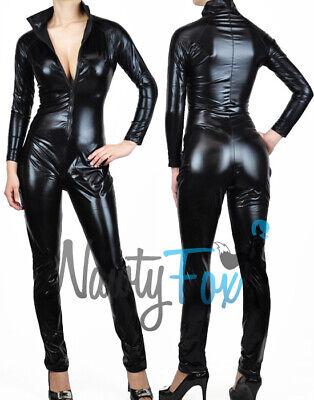 Halloween Costumes Body Suits (Sexy Black Metallic Black Bodysuit Catsuit Zip Up Halloween)