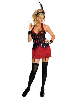 Licensed Playboy Flapper Girl Red Corset Sexy Womens Halloween Co