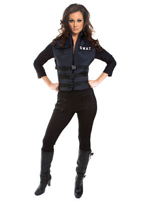 Sexy Black Lady Swat Cop Officer Adult Jumpsuit Bodysuit Halloween Costume
