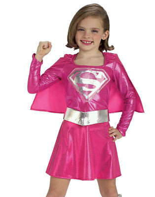 Girls Hot Pink Super Hero Cute Supergirl Kids Halloween Costume Cape M - Hot Halloween Costumes Girls