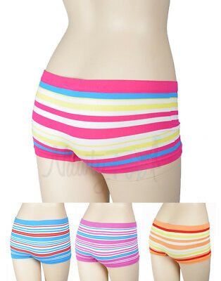 4 Striped Lycra Seamless Boy Short Panties Roller Derby Underwear Lingerie - Lycra Short Set